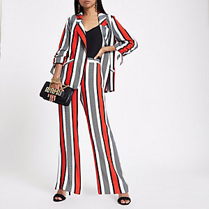 Petite red stripe wide leg trousers
