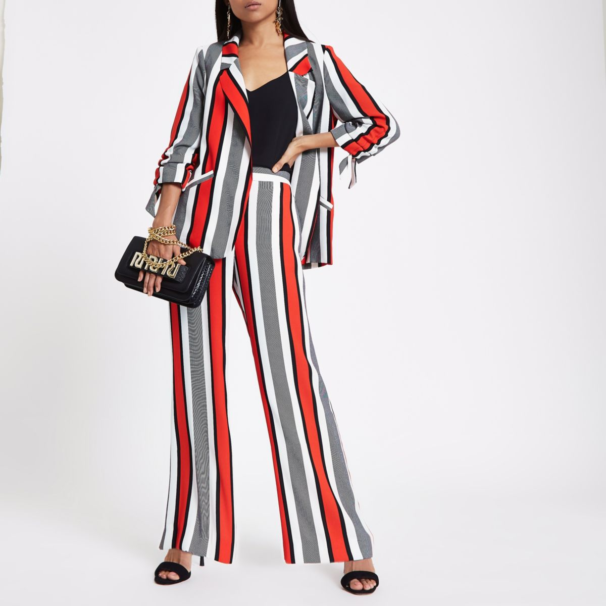 Petite red stripe wide leg pants