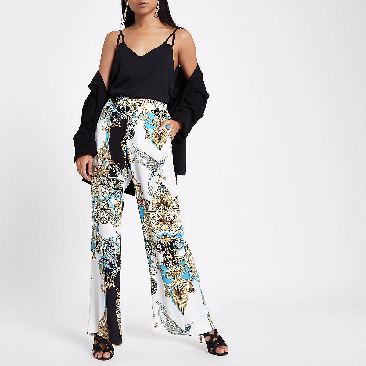 Petite cream scarf print wide leg trousers