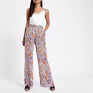 Petite orange paisley print wide leg pants