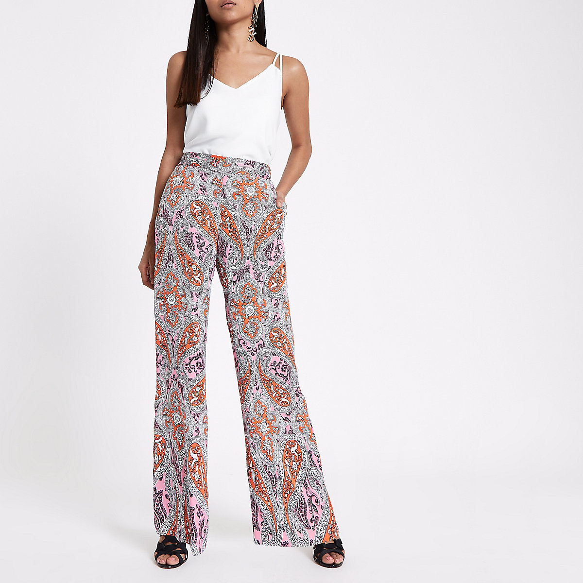 Petite orange paisley print wide leg trousers