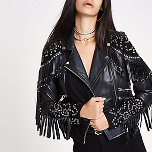 RI 30 black studded biker leather jacket