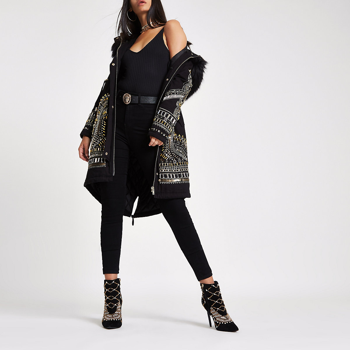 RI 30 black embellished parka