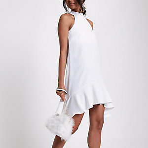 Cream swing frill hem dress
