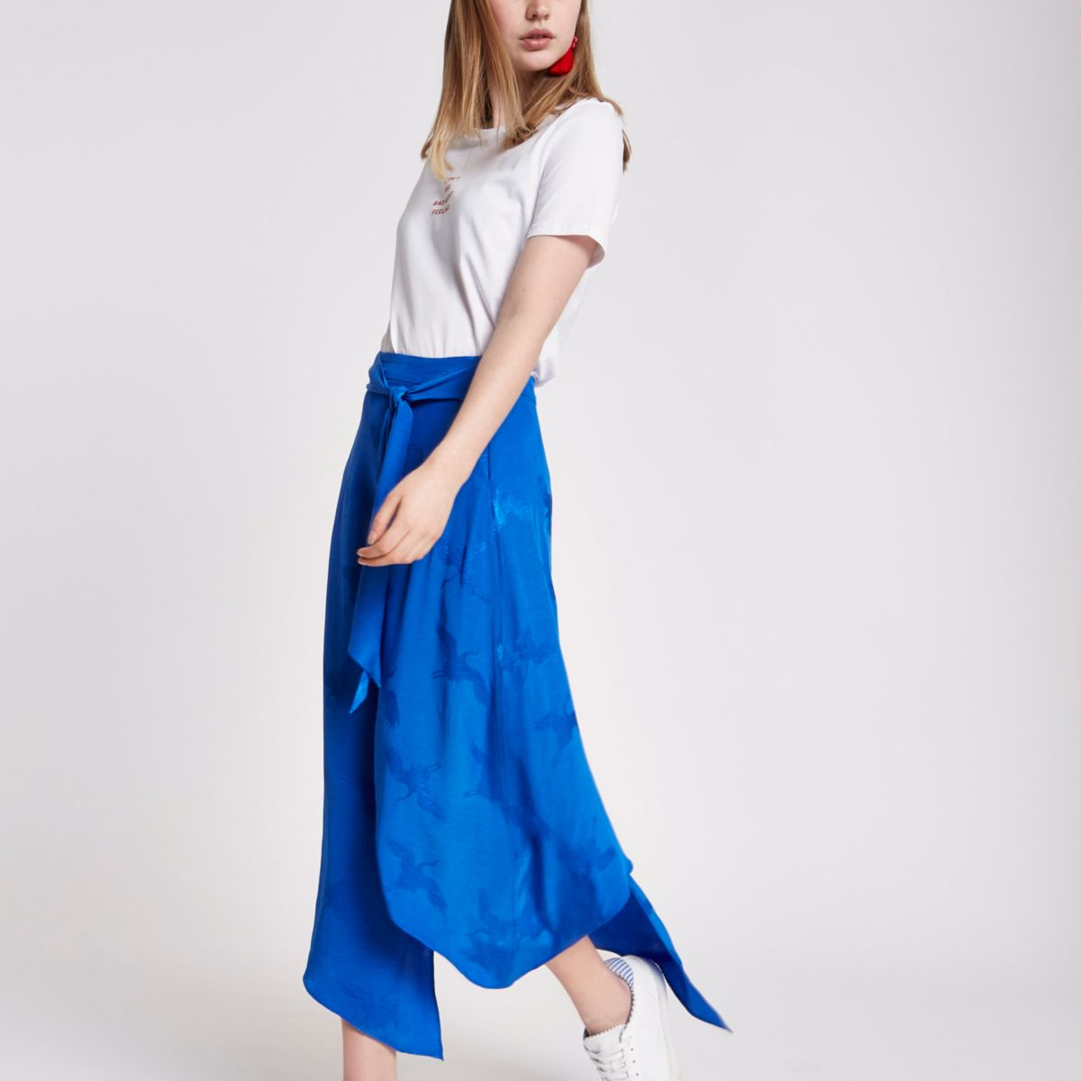 Blue wrap tie front jacquard midi skirt