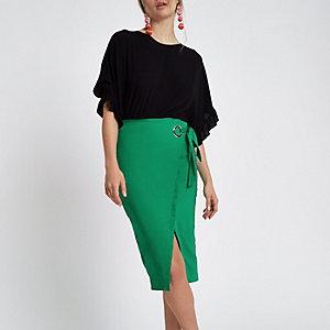 Green wrap pencil skirt