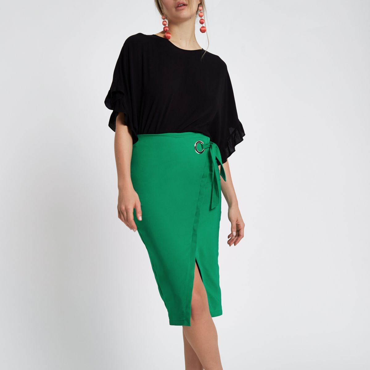 Green wrap pencil skirt