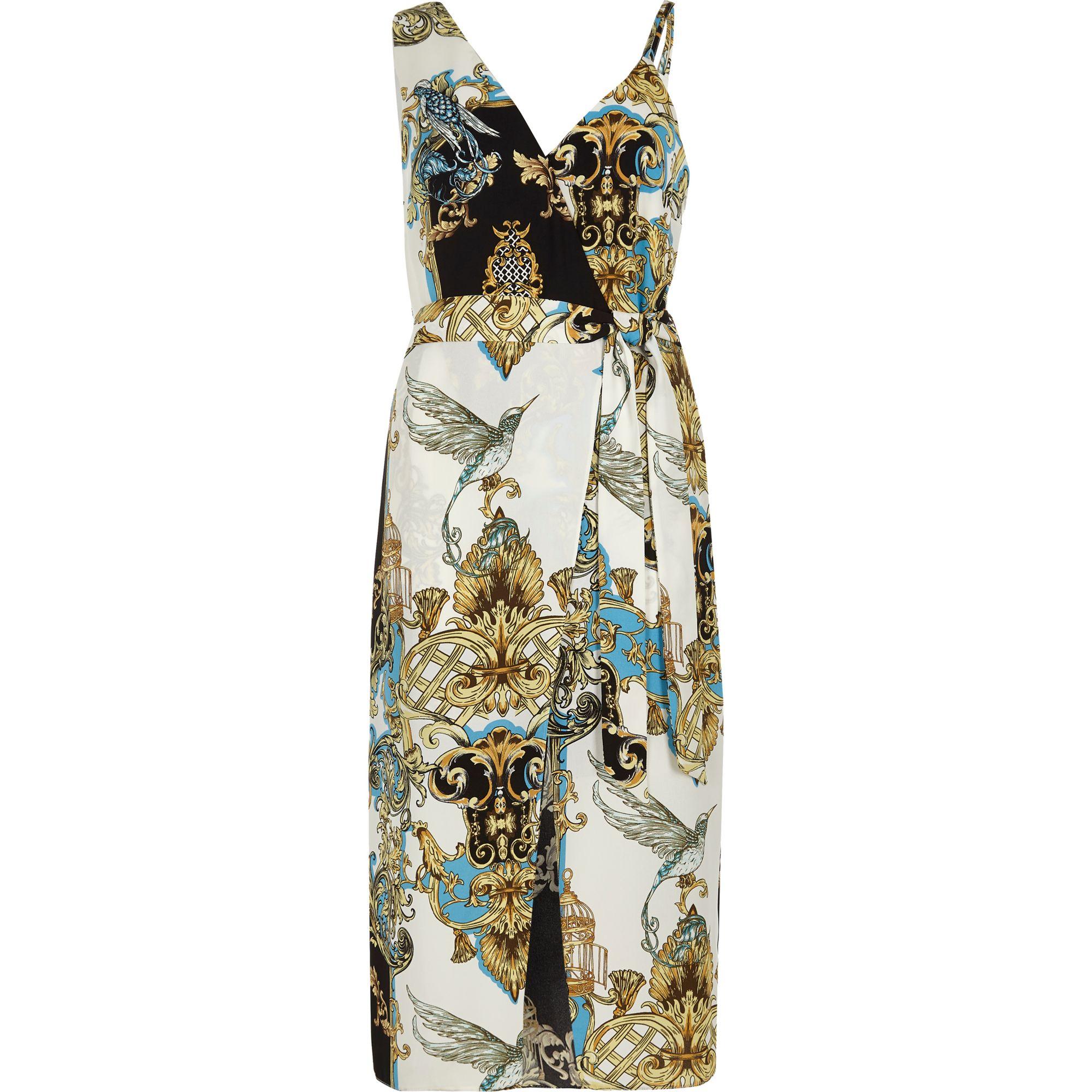 e254b67cb1 River Island Light Blue Denim Cut Out Midi Dress