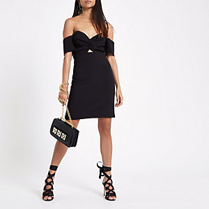Petite black bardot mini dress