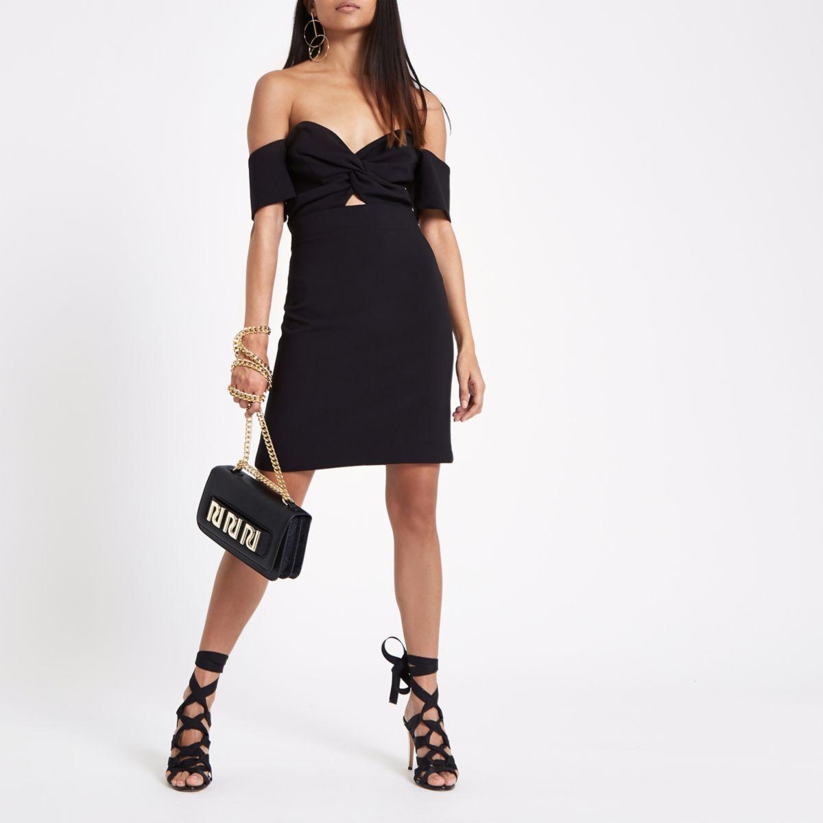 Petite black bardot mini dress