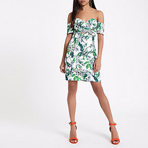 Petite cream floral print bardot midi dress