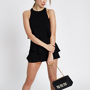 Black tiered frill playsuit