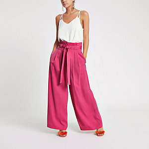 Petite pink paperbag waist wide leg trousers