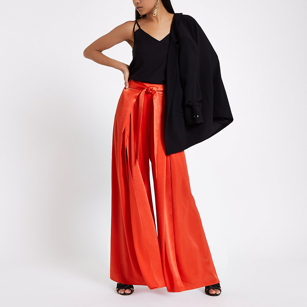 Petite red split wide leg trousers