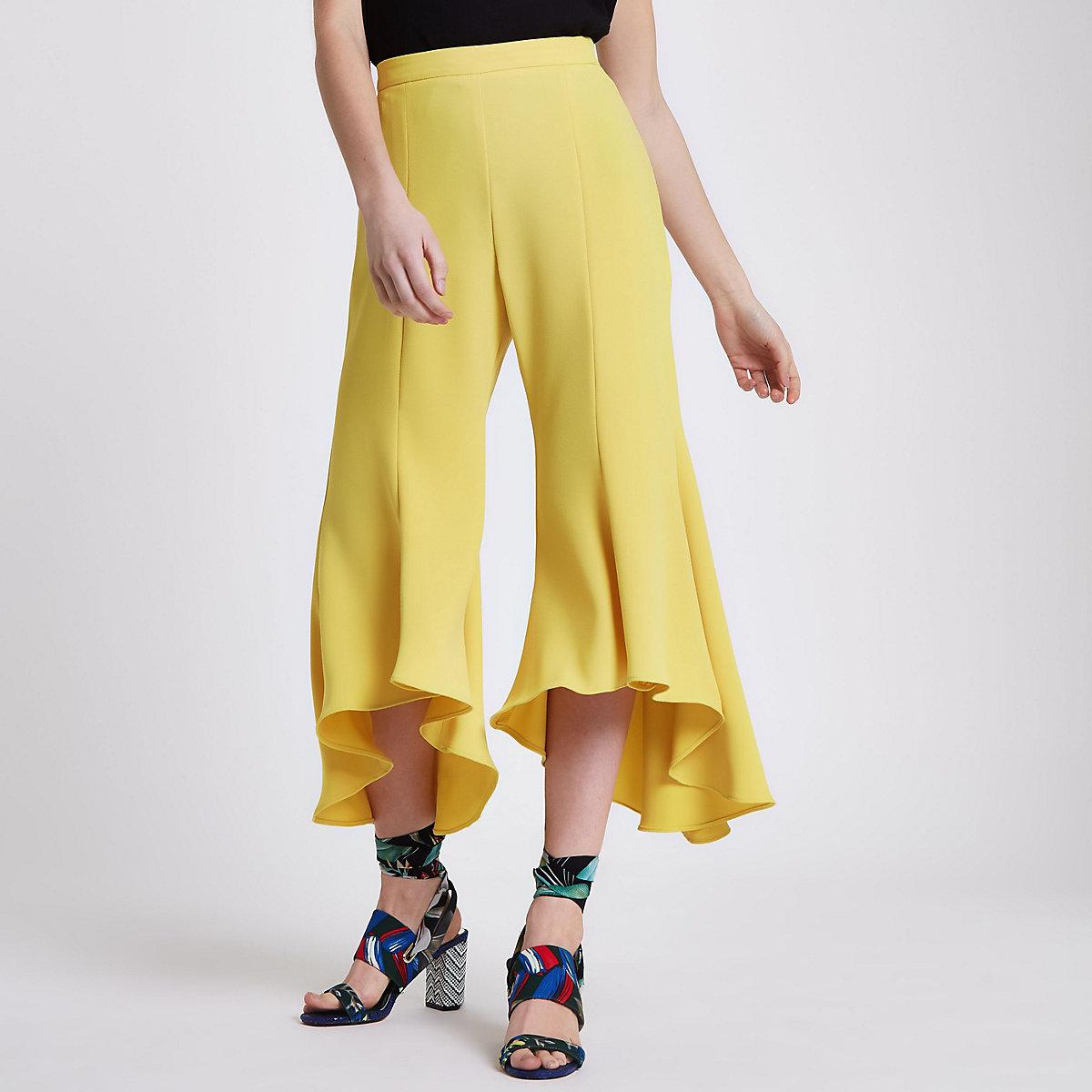 Petite yellow split frill hem trousers