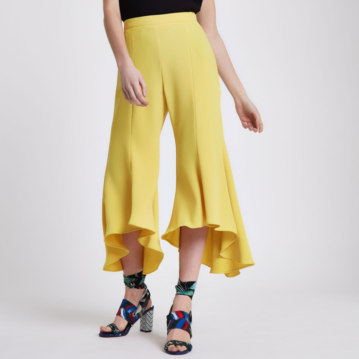 Petite yellow split frill hem trousers