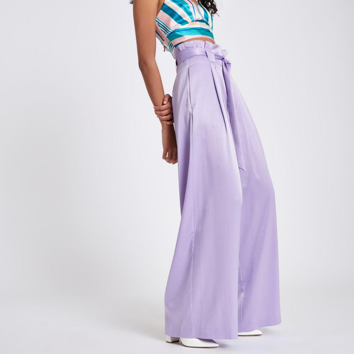 Purple satin paperbag wide leg pants