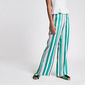 Green stripe wide leg trousers