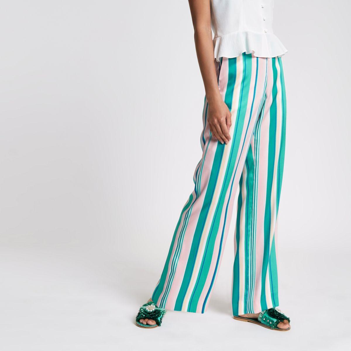 Grüne, gestreifte Hose mit weitem Beinschnitt