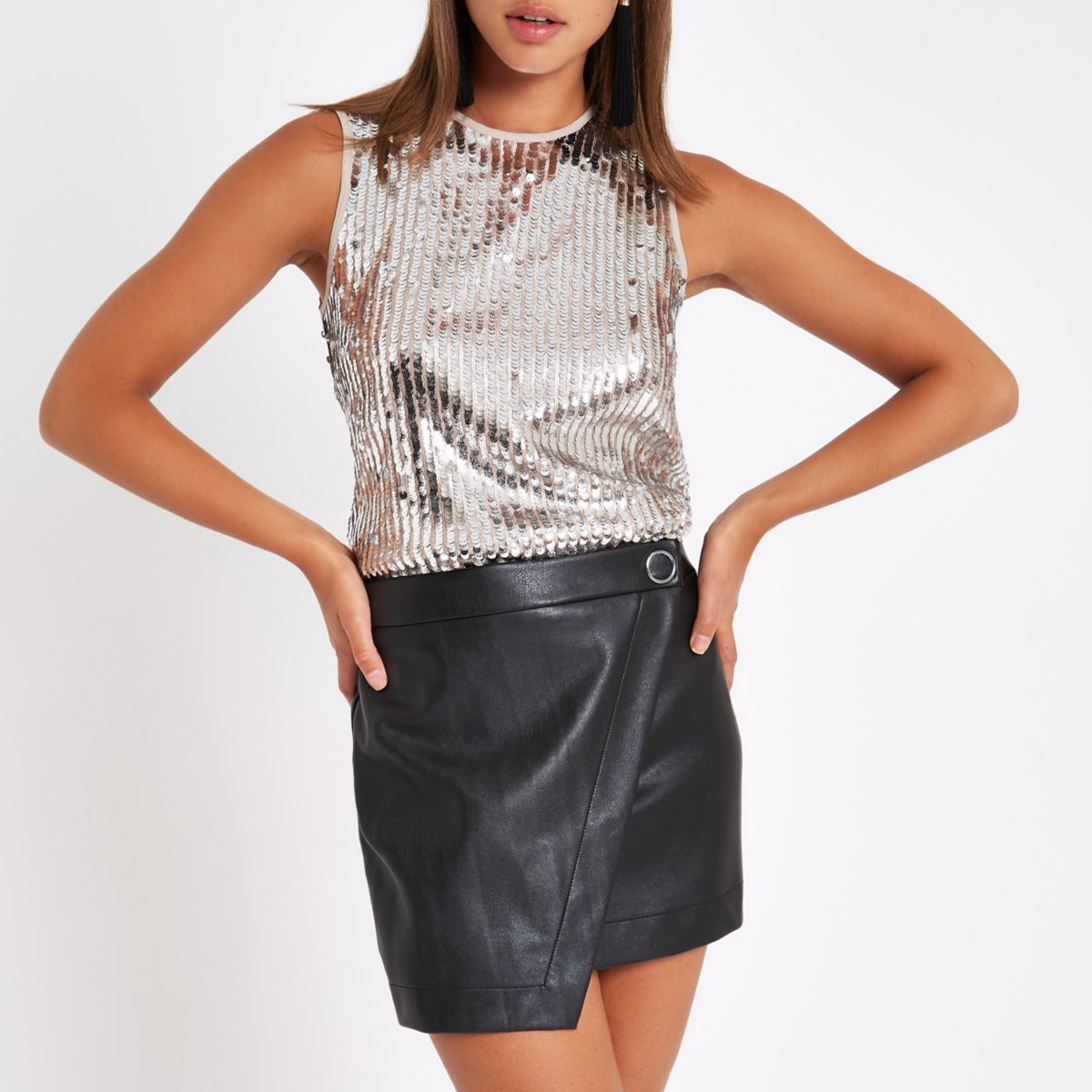 Black faux leather skort