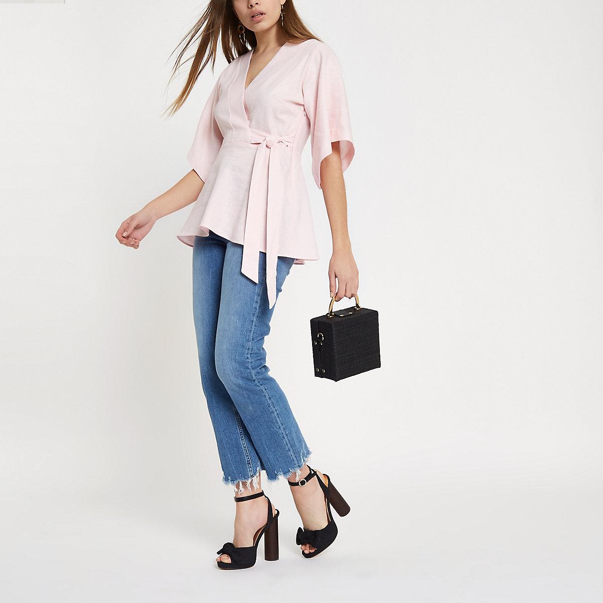Pink kimono sleeve wrap top