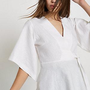 Crème overslagtop met kimonotop