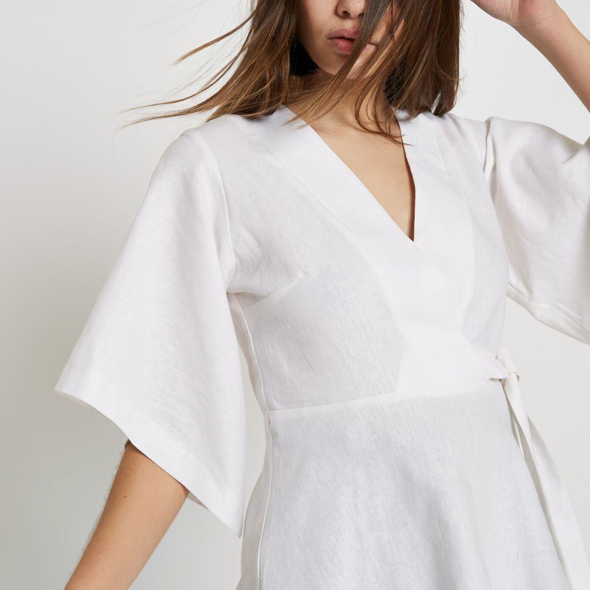 Cream kimono sleeve wrap top