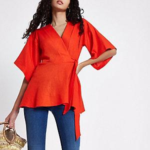 Red kimono sleeve wrap top