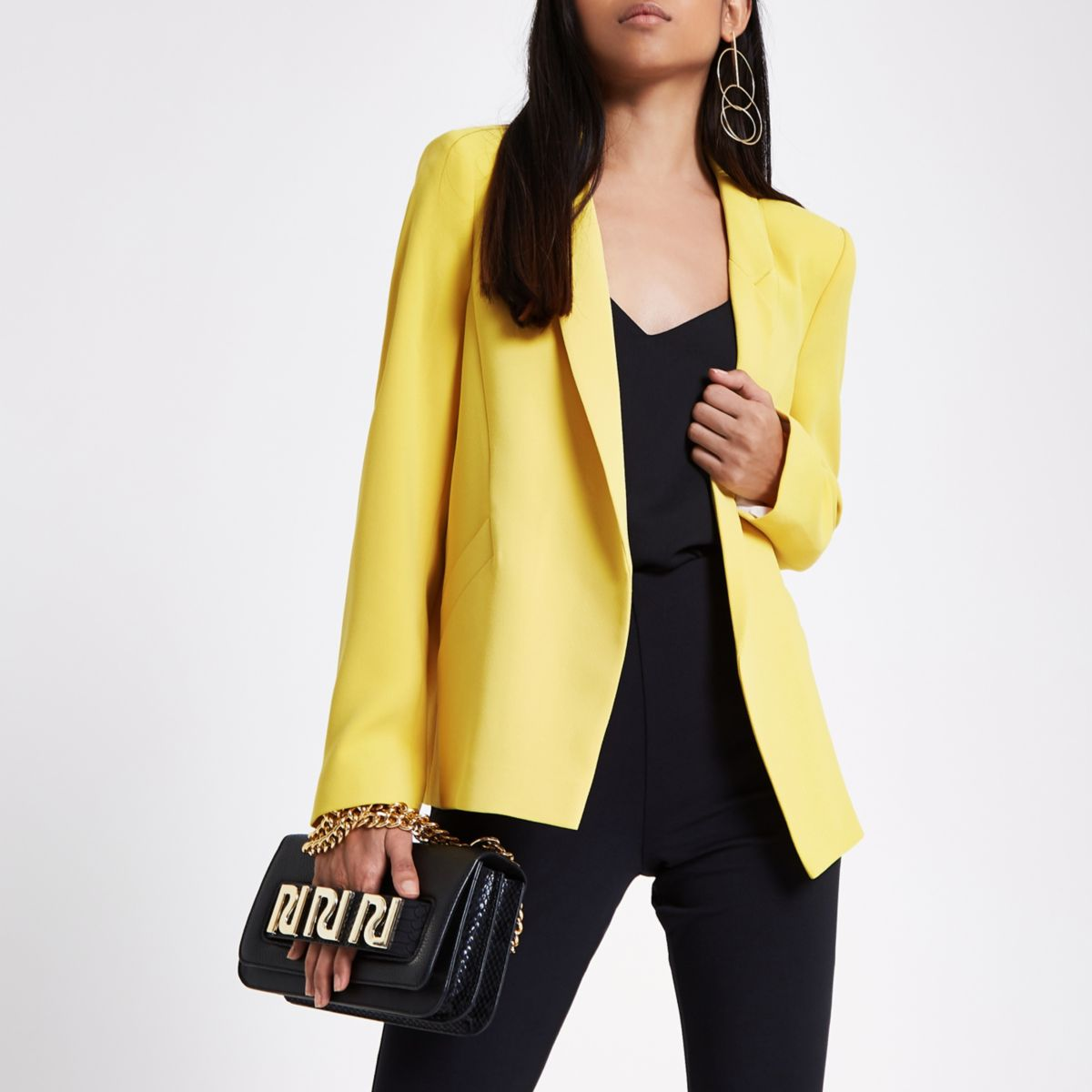 Petite yellow long sleeve blazer