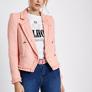 Light pink boucle double-breasted jacket