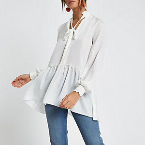 White tie front frill hem top