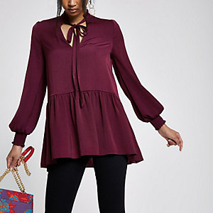 Dark red tie front frill hem top