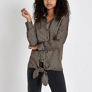 Brown stripe tie front shirt