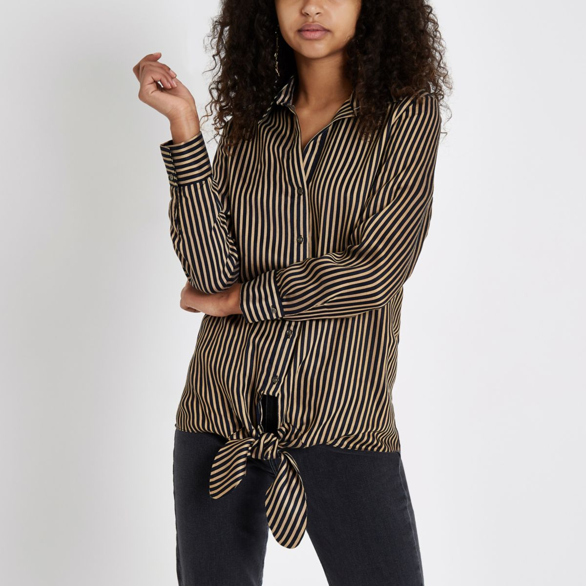 Brown stripe tie front shirt