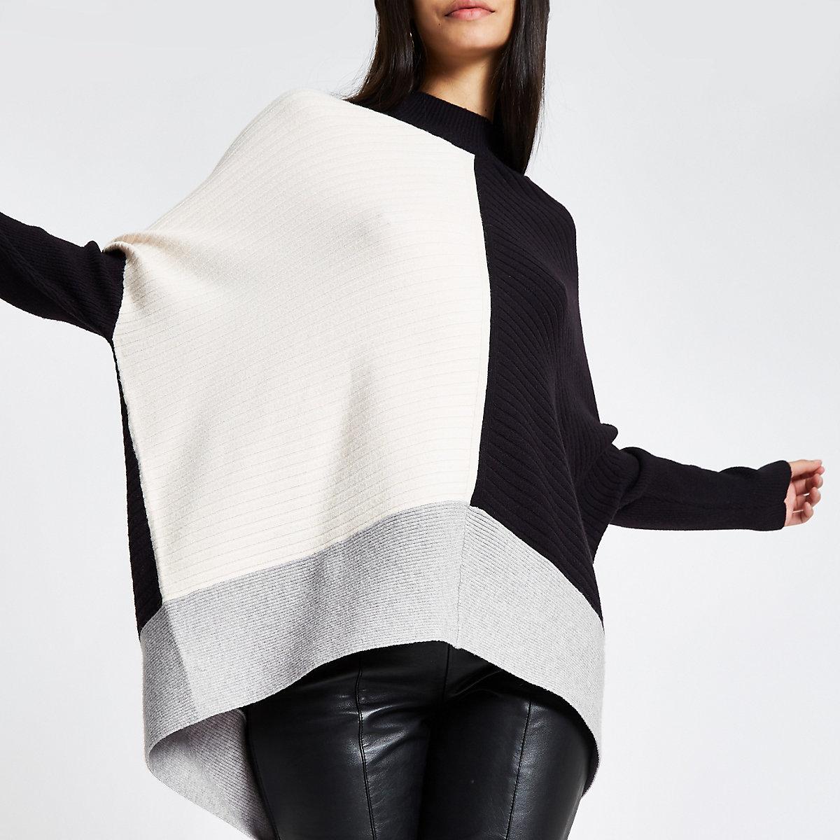 6379636992 Black ribbed knit colour block jumper - Jumpers - Knitwear - women