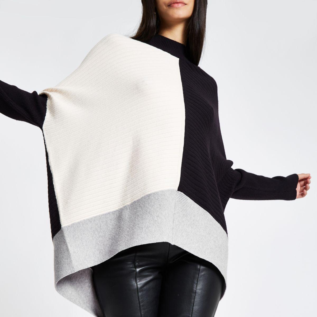Black ribbed knit colour block jumper