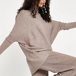 Beige rib knit high neck long sleeve jumper