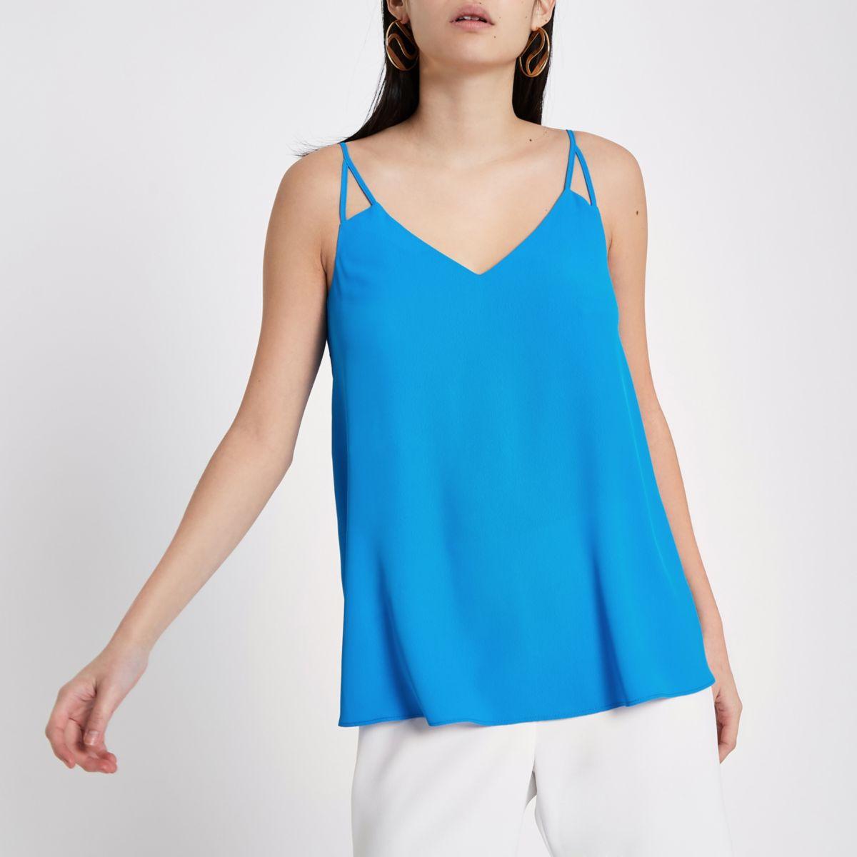 Blue split strap cami top