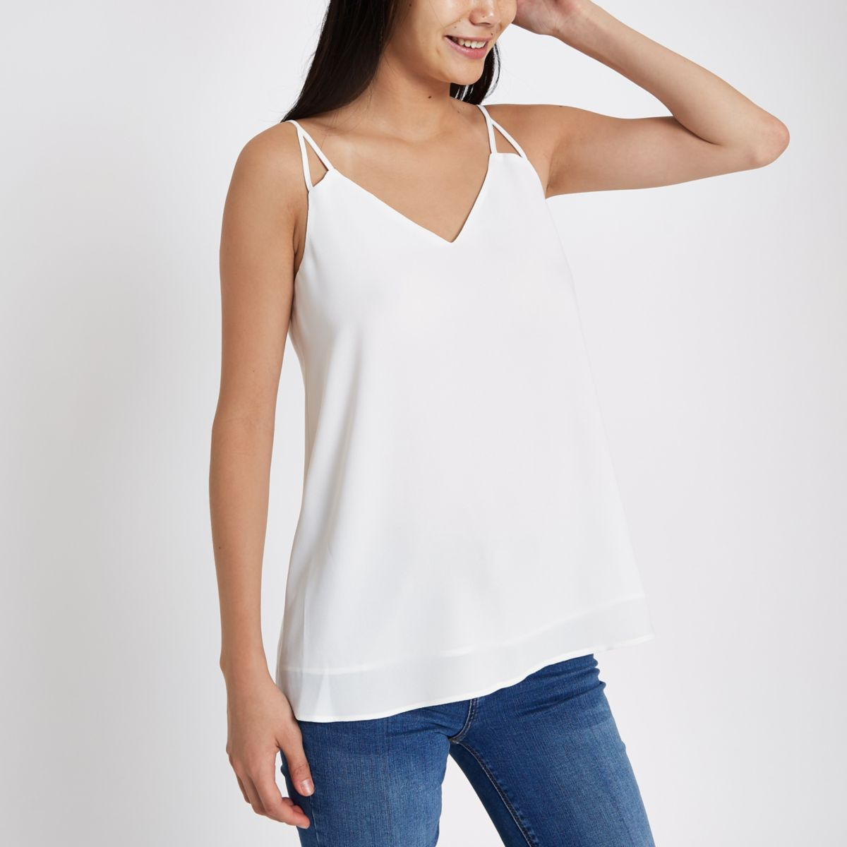 White split strap cami top