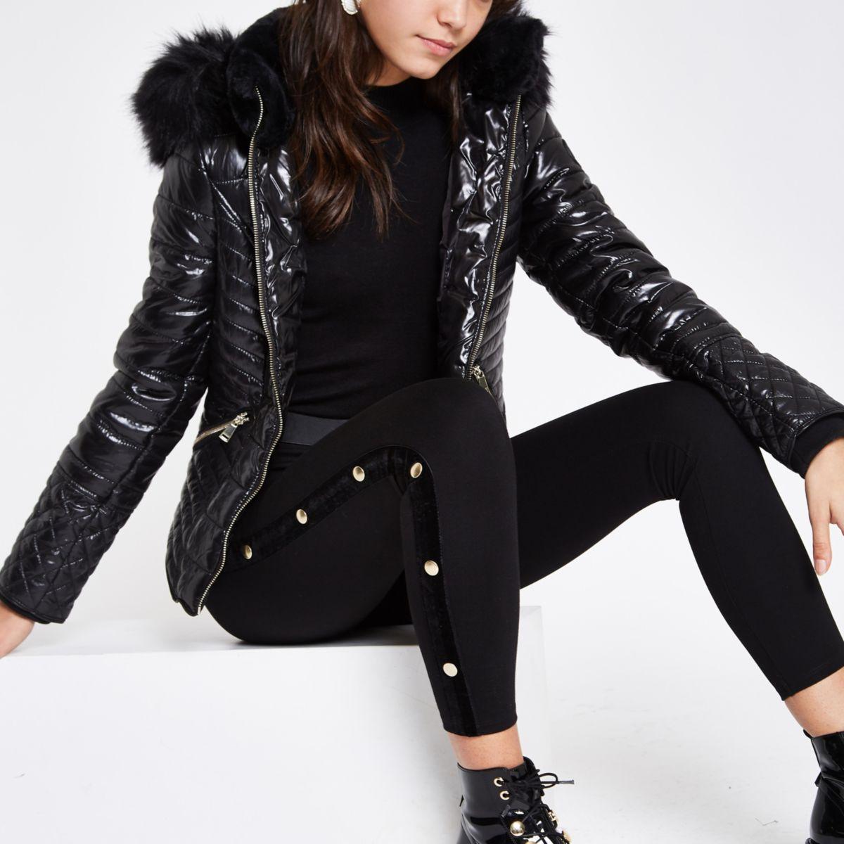 Black high shine faux fur trim padded jacket