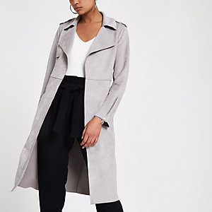 Light grey faux suede longline trench jacket