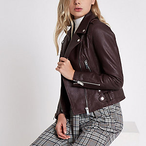 Dark purple leather biker jacket