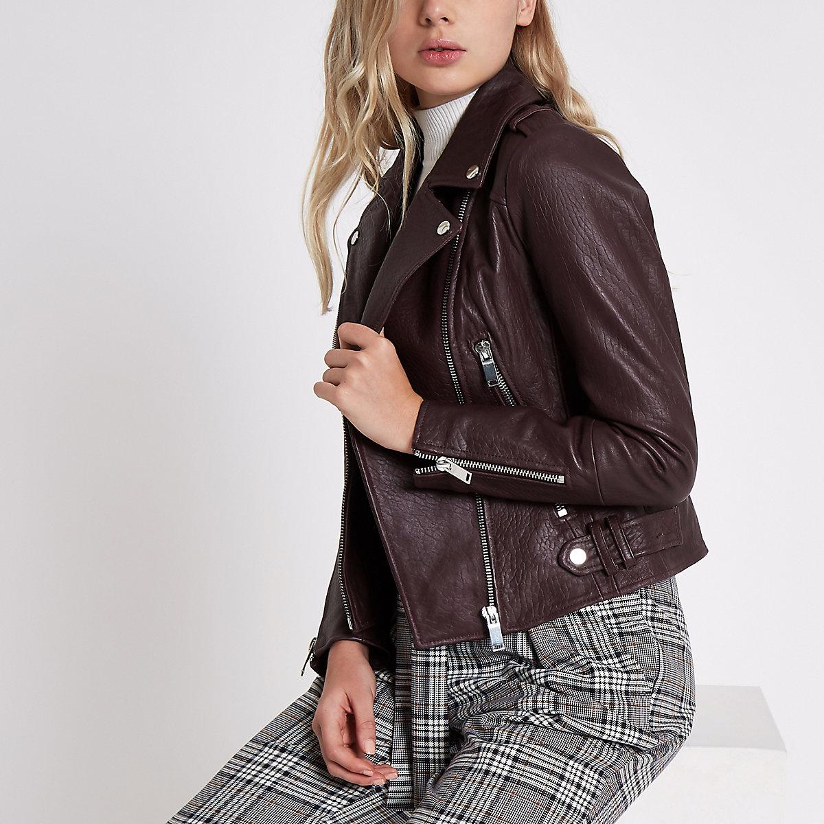Dark purple leather biker jacket