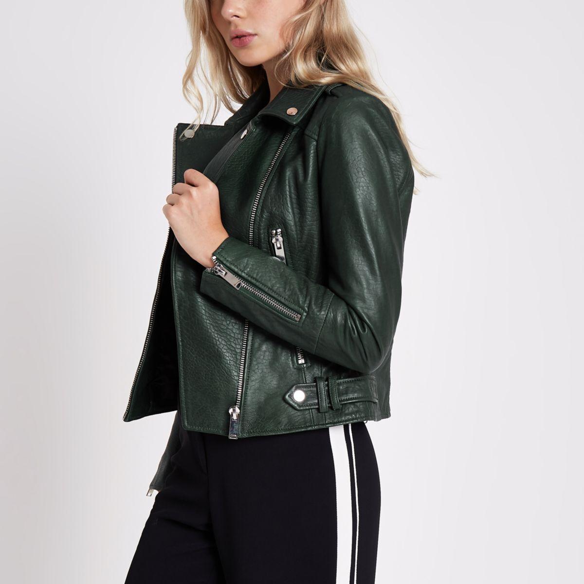 Dark green leather biker jacket