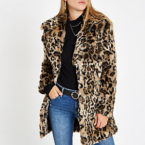 Manteau imprimé léopard marron à fausse fourrure