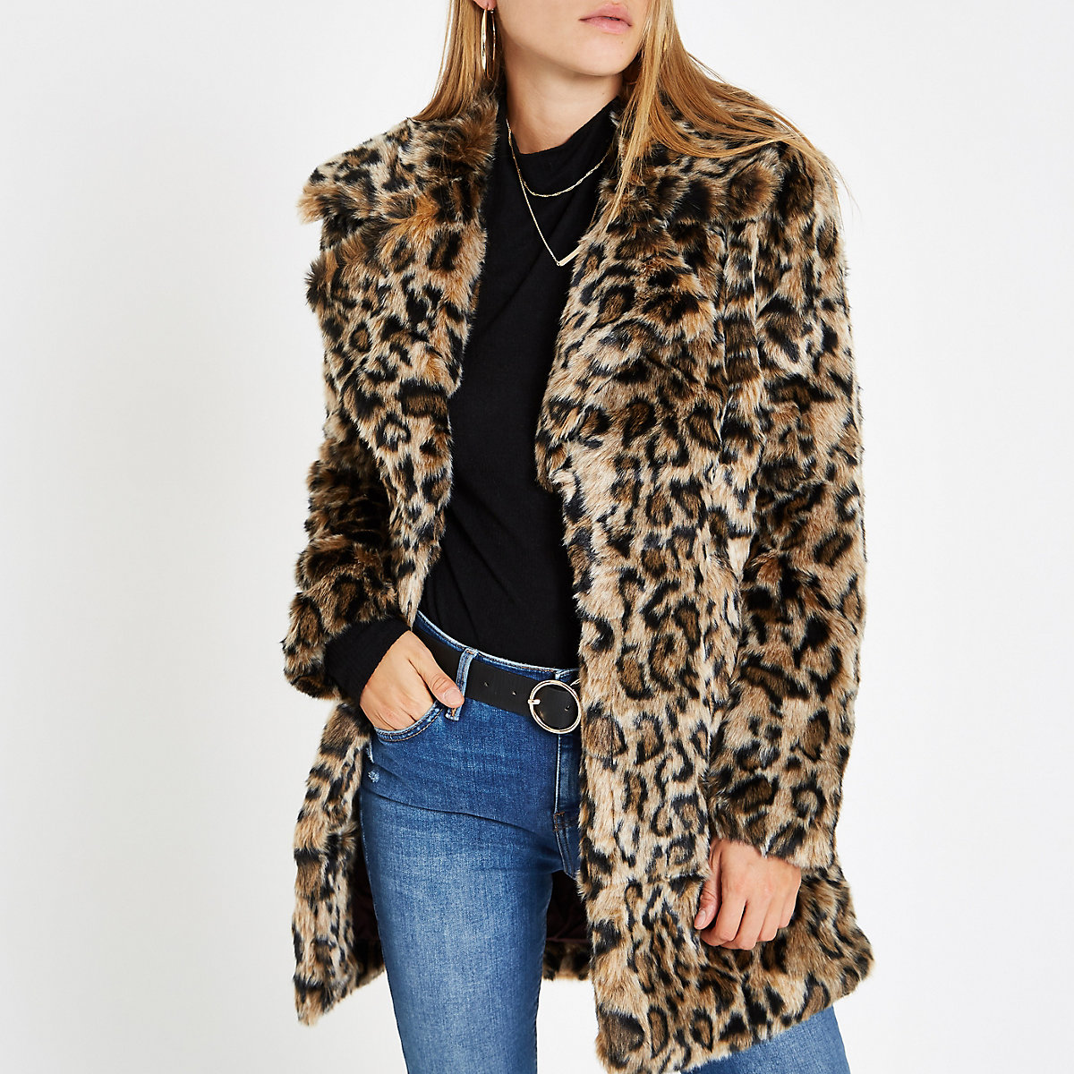 Brown leopard print faux fur coat - Coats - Coats   Jackets - women f7d267e67