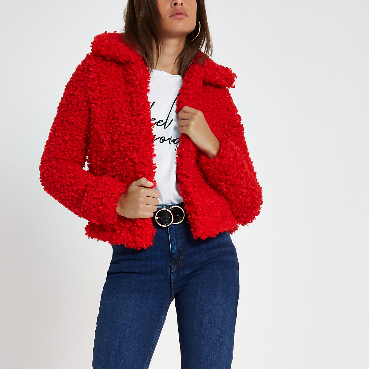 Red shearling faux fur cropped jacket