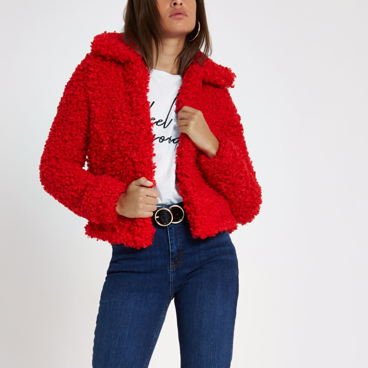 Red shearling fur cropped jacket