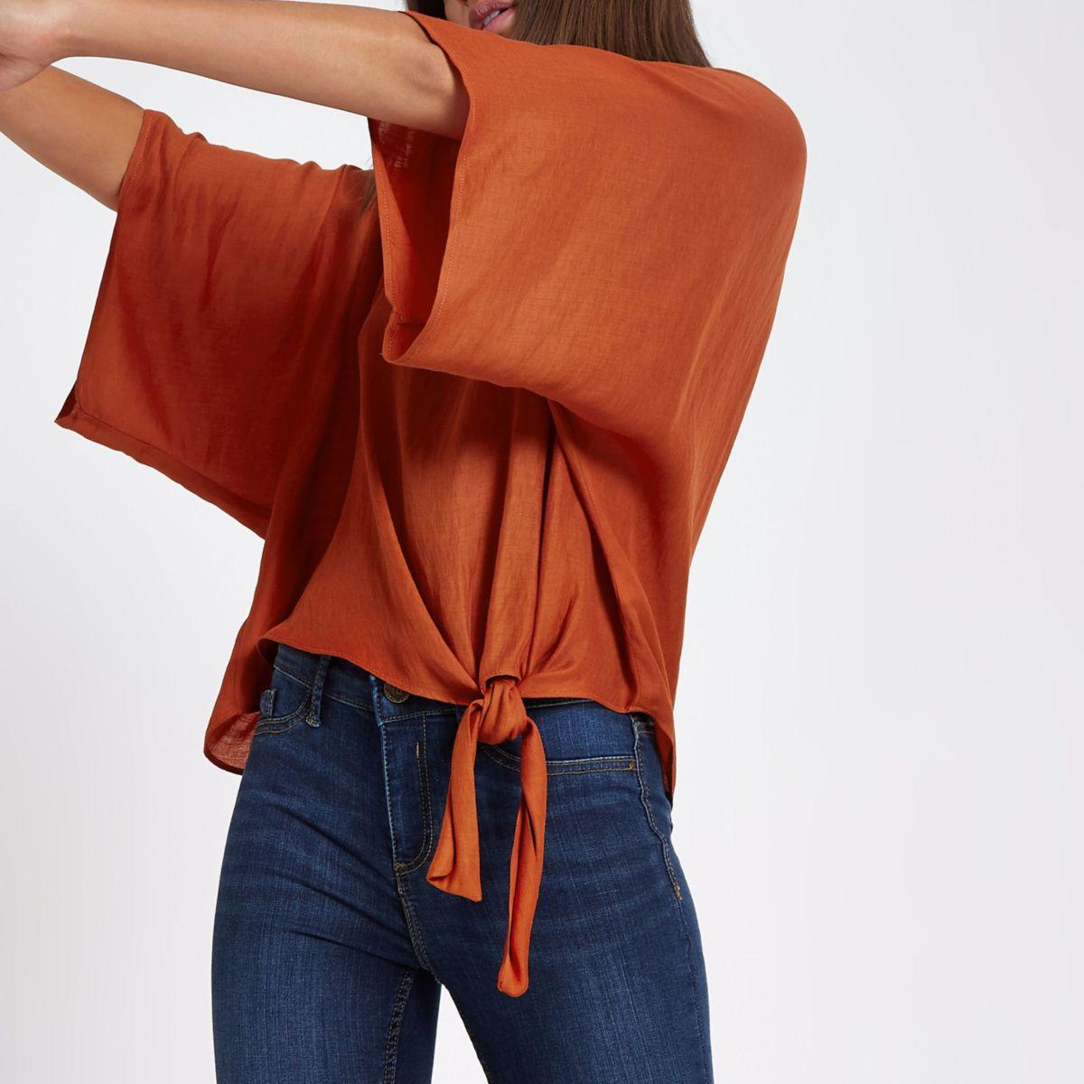 Dark orange knot side T-shirt