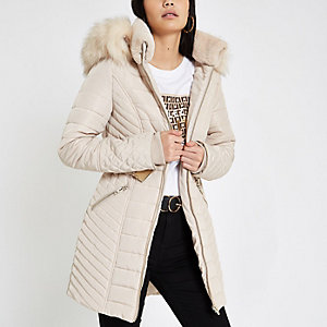 Cream faux fur trim belted padded jacket